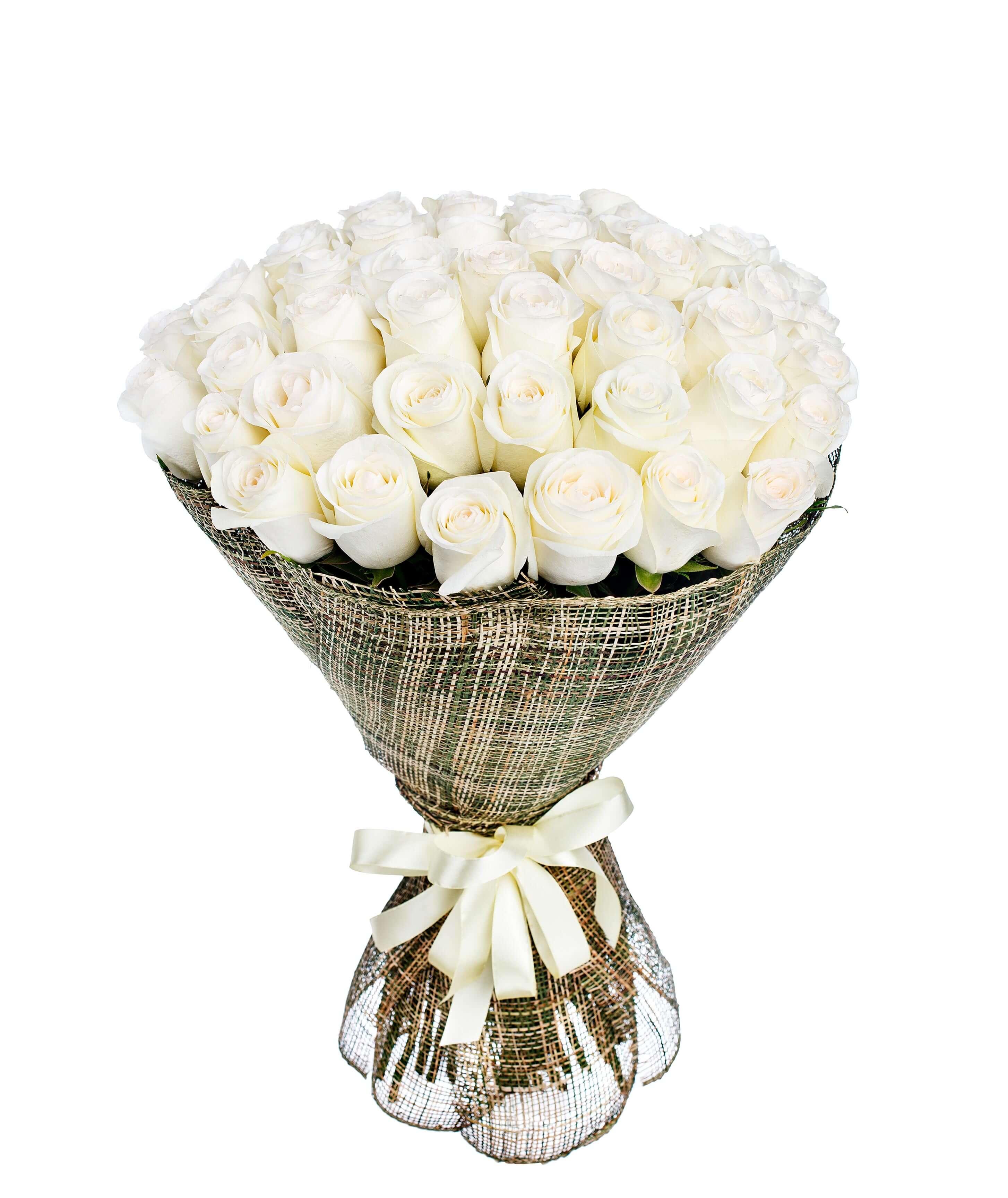 ramo de 50 rosas blancas