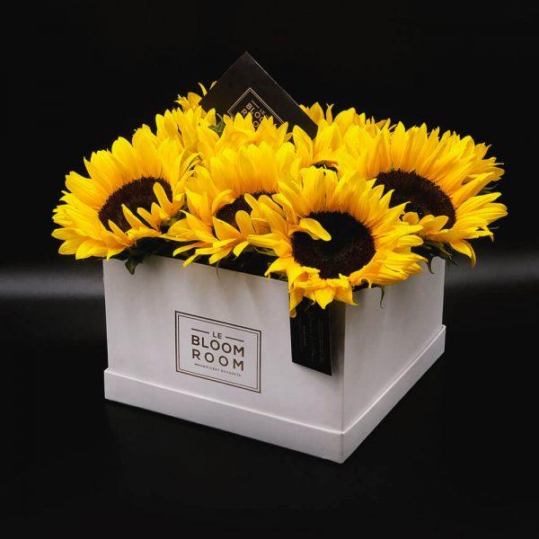 caja grande blanca 10 girasoles