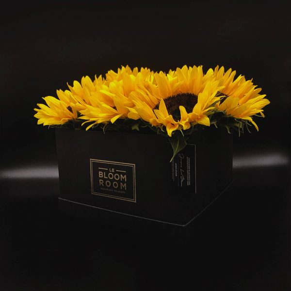 caja grande negra 10 girasoles