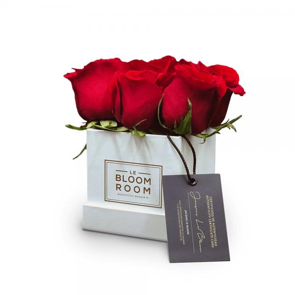 caja mini de 6 rosas rojas